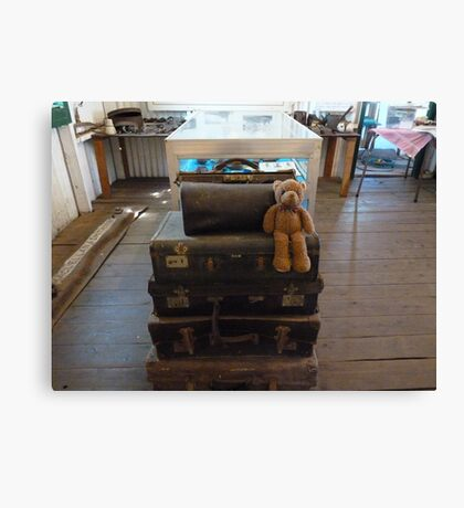 Well, off to see the big wide world ,luggage all ready, hoping Ted get to go in the big puff puff .. we'll see ? Canvas Print