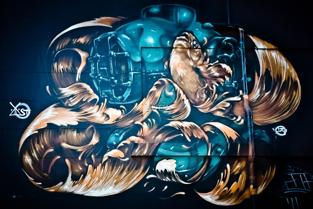 Fish and Batiscaf Graffiti  by yurix