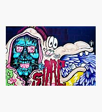 Welcome to Jolly Hallucinogenic 1969. Skull and others Graffiti  Photographic Print