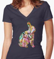 Psychadelic Dream Bunny Women's Fitted V-Neck T-Shirt