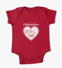Love in the Time of Chasmosaurs logo: white One Piece - Short Sleeve