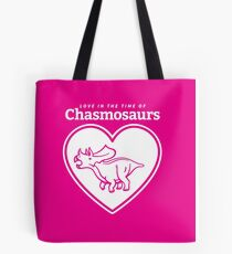 Love in the Time of Chasmosaurs logo: white Tote Bag