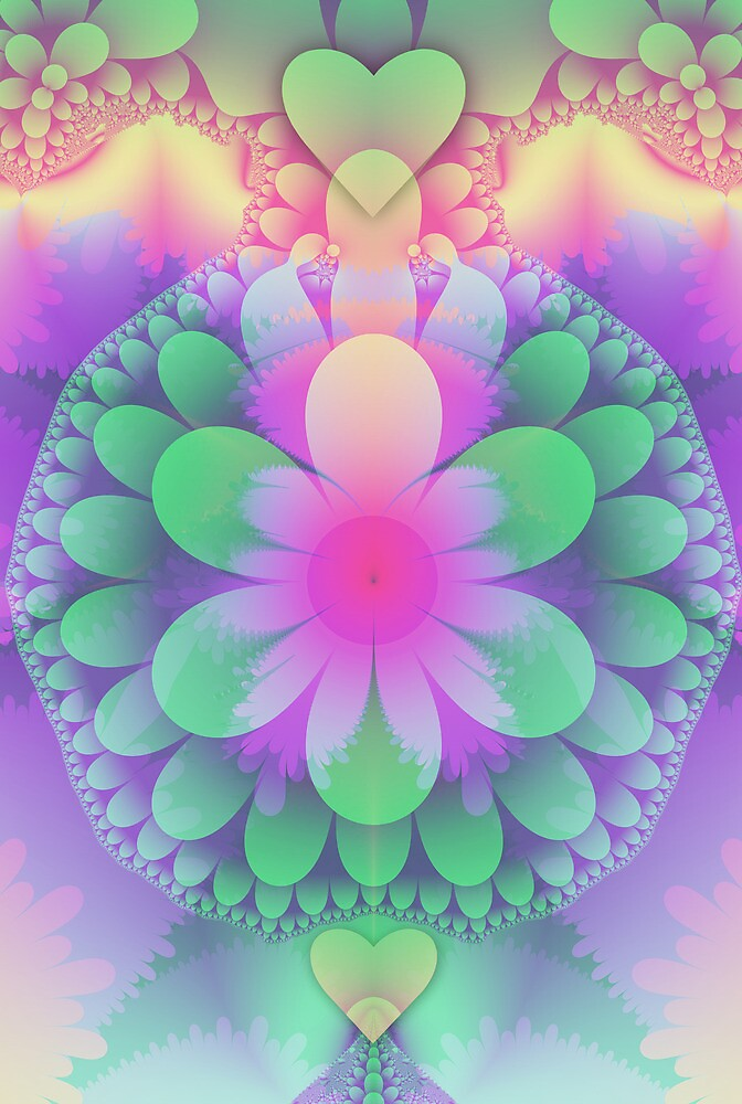Pastel Flower, Hearts and Petals by walstraasart