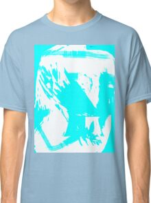Abstract brush face - blue Classic T-Shirt