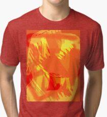 Abstract brush face - orange Tri-blend T-Shirt