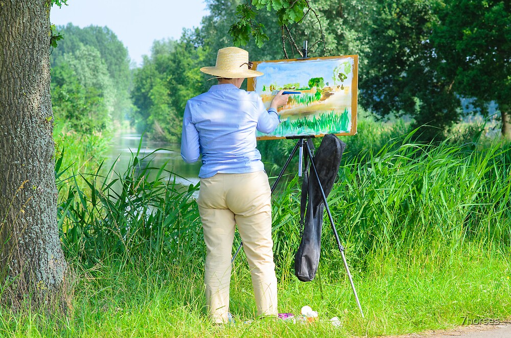 Paintress of Flemish summer landscape at work in the field by 7horses