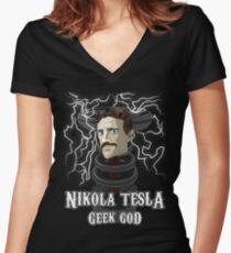 Nikola Tesla: Geek God Women's Fitted V-Neck T-Shirt