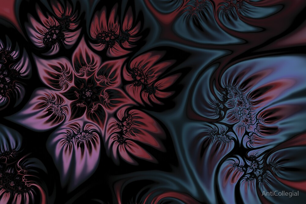 Pink Floral Fractal by AntiCollegial