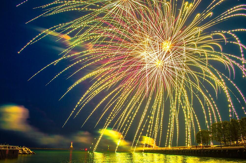 Fireworks from Port Washington Wisconsin by James Meyer