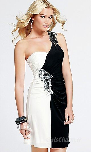 Princesse Mousseline Une epaule Court Robe by nydiaes