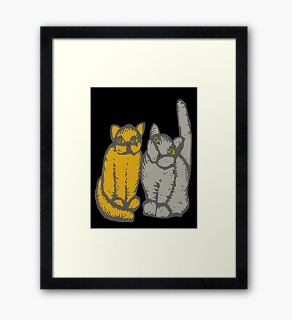Cats couple - pets, cats, kittens, rescue,  Framed Print