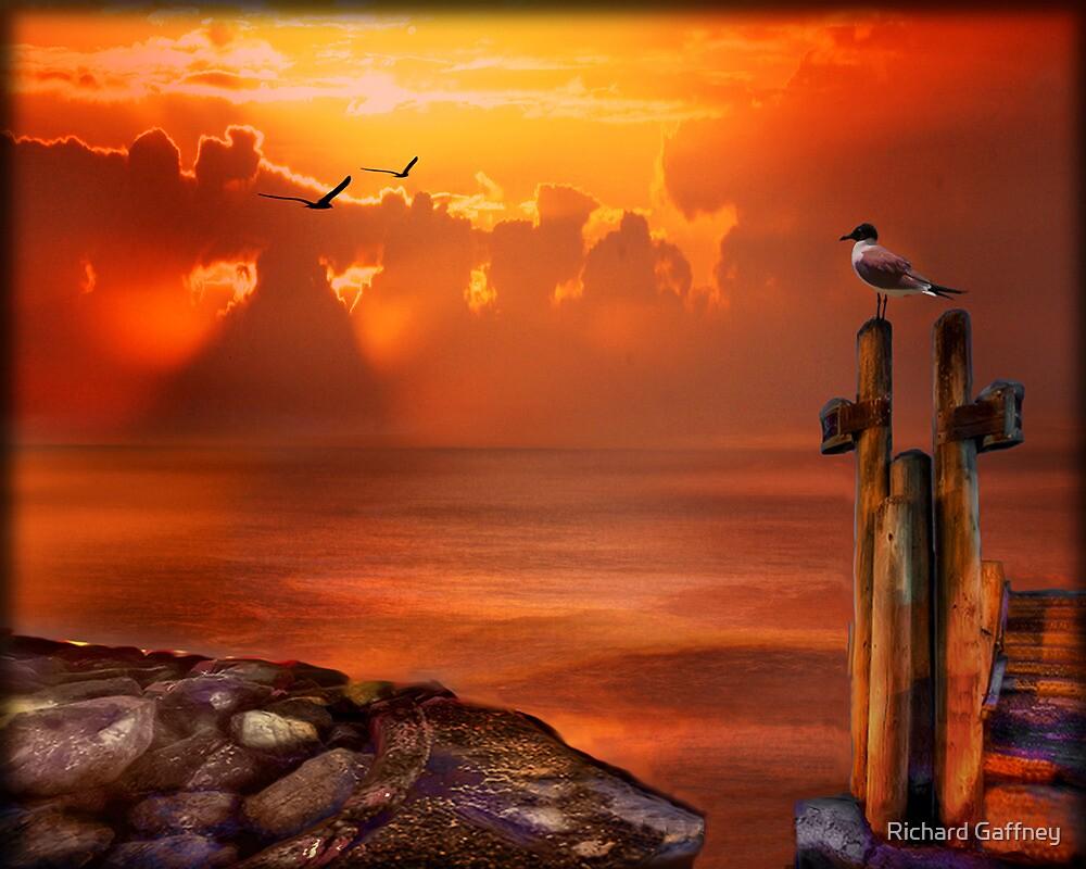 Sea and dock by Richard Gaffney