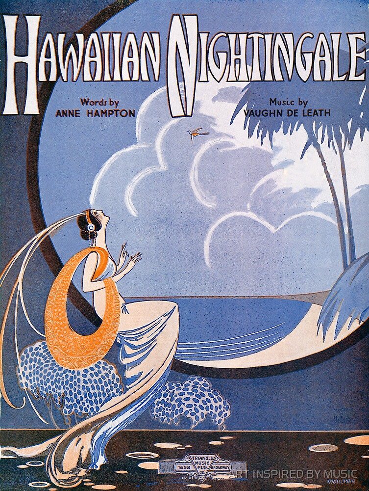 HAWAIIAN NIGHTINGALE (vintage illustration) by ART INSPIRED BY MUSIC