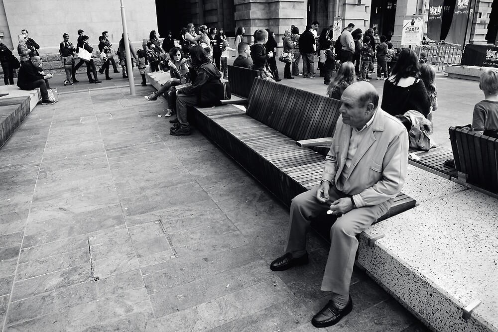 Sitting Man Forrest Place Perth by Andrew  Makowiecki