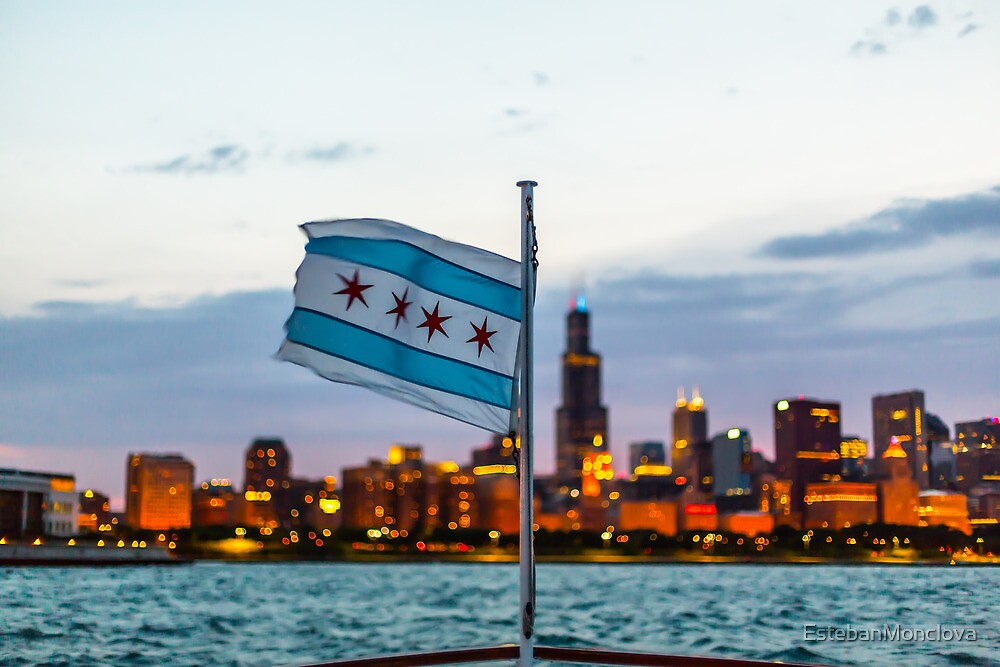 Chicago Flag and Cityscape by EstebanMonclova