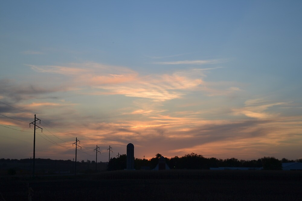 Sunset over the farm by Kevin Simonson