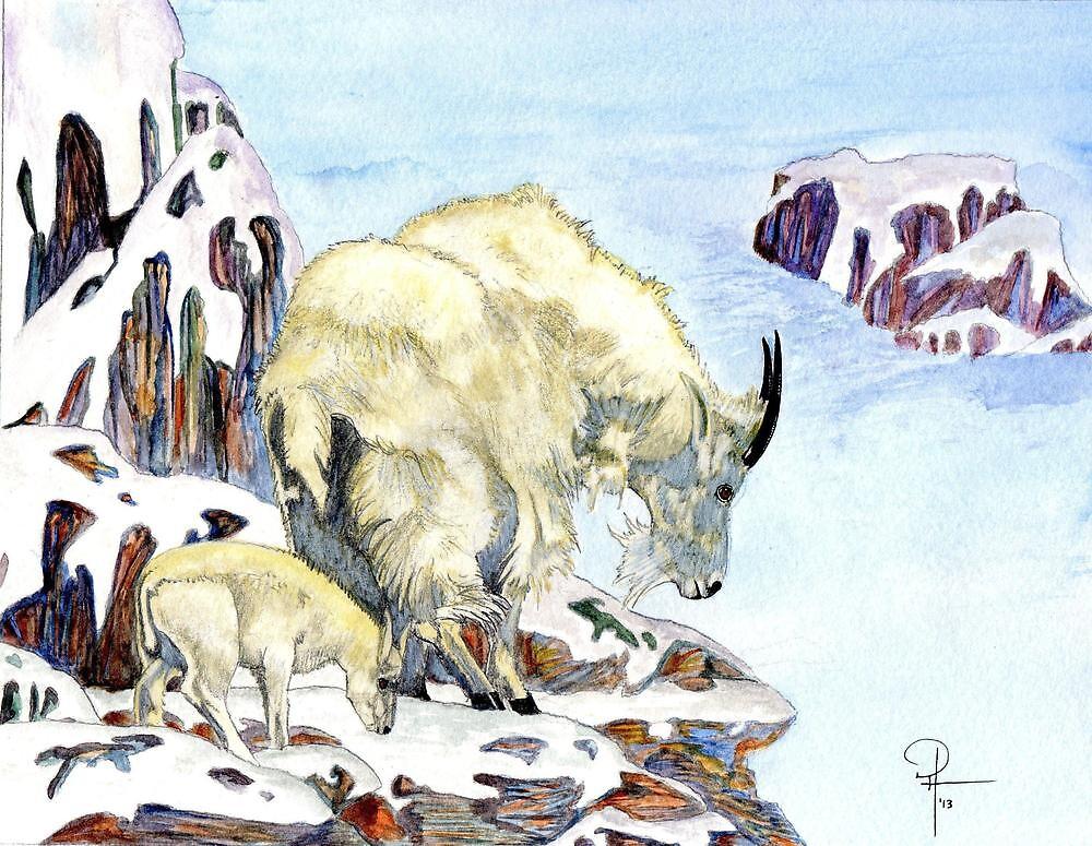 Mountain Goats on the Ledge by Doug Hiser