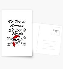 TO ERR IS HUMAN.  TO ARR IS PIRATE Postcards