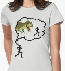 I Run Because... Dinosaurs. Womens Fitted T-Shirt