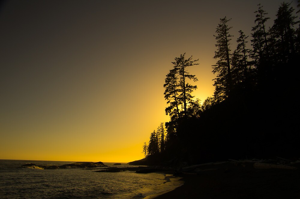 Tsusiat Sunset - West Coast Trail, Vancouver Island, Canada by Phil McComiskey
