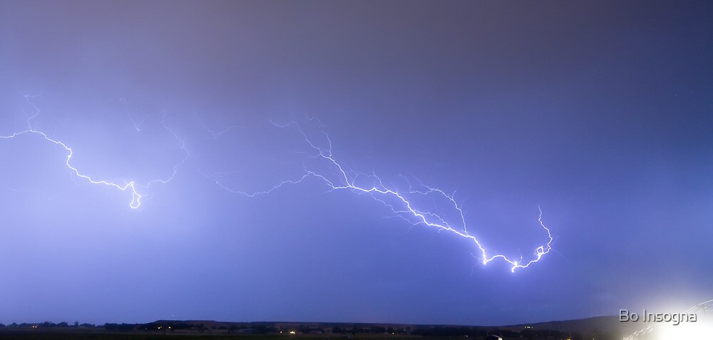 Lightning Bolts Coming In For A Landing Panorama by Bo Insogna
