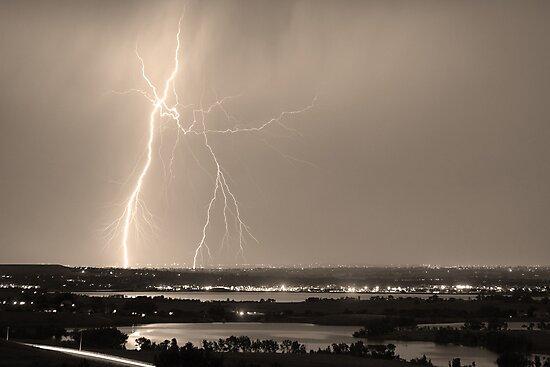Lightning Strike Boulder Reservoir and Coot Lake Sepia by Bo Insogna