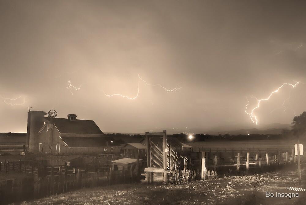 McIntosh Farm Lightning Thunderstorm View Sepia by Bo Insogna