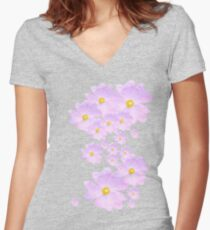 Pale Pink Flower Women's Fitted V-Neck T-Shirt
