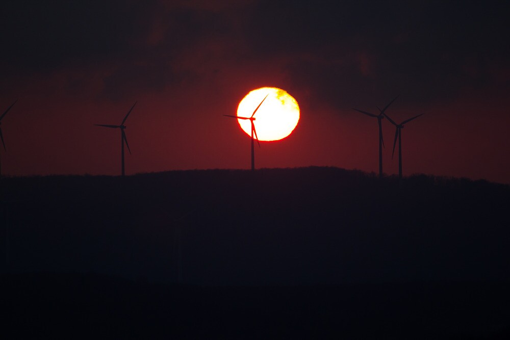 Sunrise Over Windmills by Dominic Perry