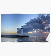 Sunset Clouds Greet The Lighthouse Poster