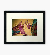mudra. tibetan wall painting, india Framed Print