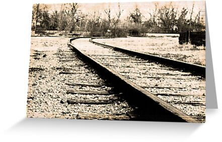 Railroad tracks into the horizon line... by sacredmoments
