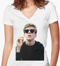 Colored Brian Breakfast Club Women's Fitted V-Neck T-Shirt