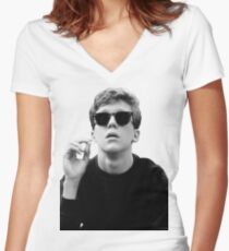 Black and White Brian Breakfast Club Women's Fitted V-Neck T-Shirt