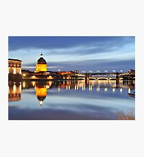 Sunset over Garonne river Photographic Print