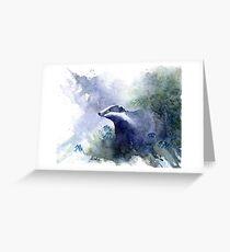 Water colour Badger Grußkarte