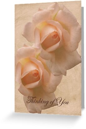 Thinking of You with Pink Roses card by walstraasart