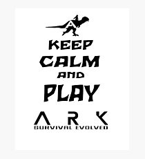 KEEP CALM AND PLAY ARK black Photographic Print