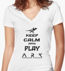 KEEP CALM AND PLAY ARK black Women's Fitted V-Neck T-Shirt