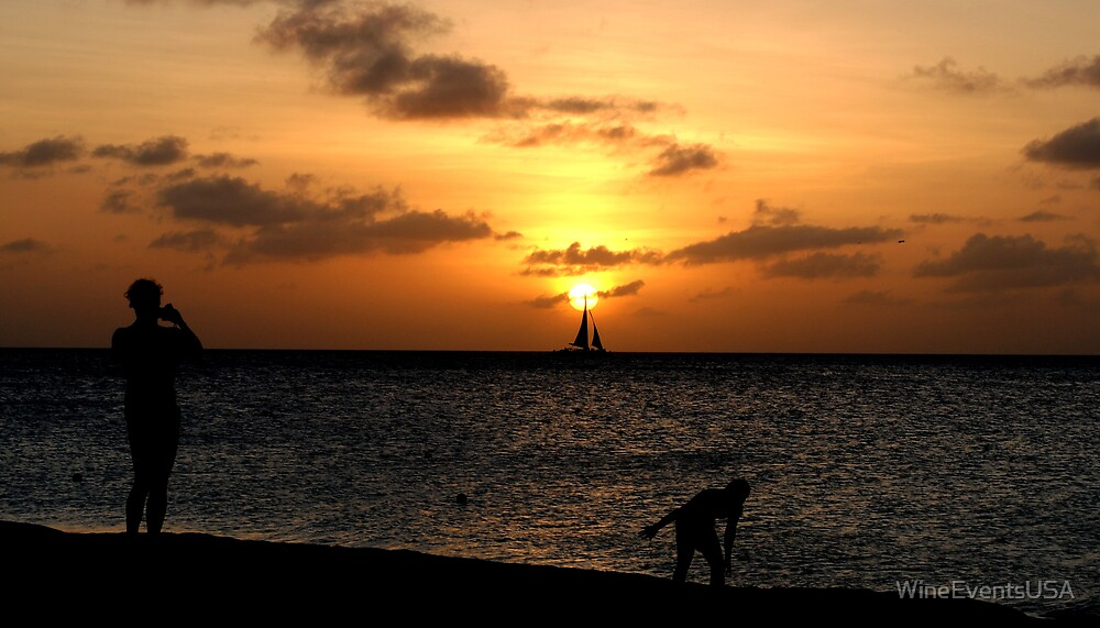 Sailboat at Sunset Aruba by WineEventsUSA