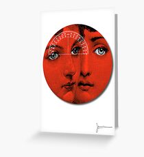 Lady Faces (Red) Greeting Card