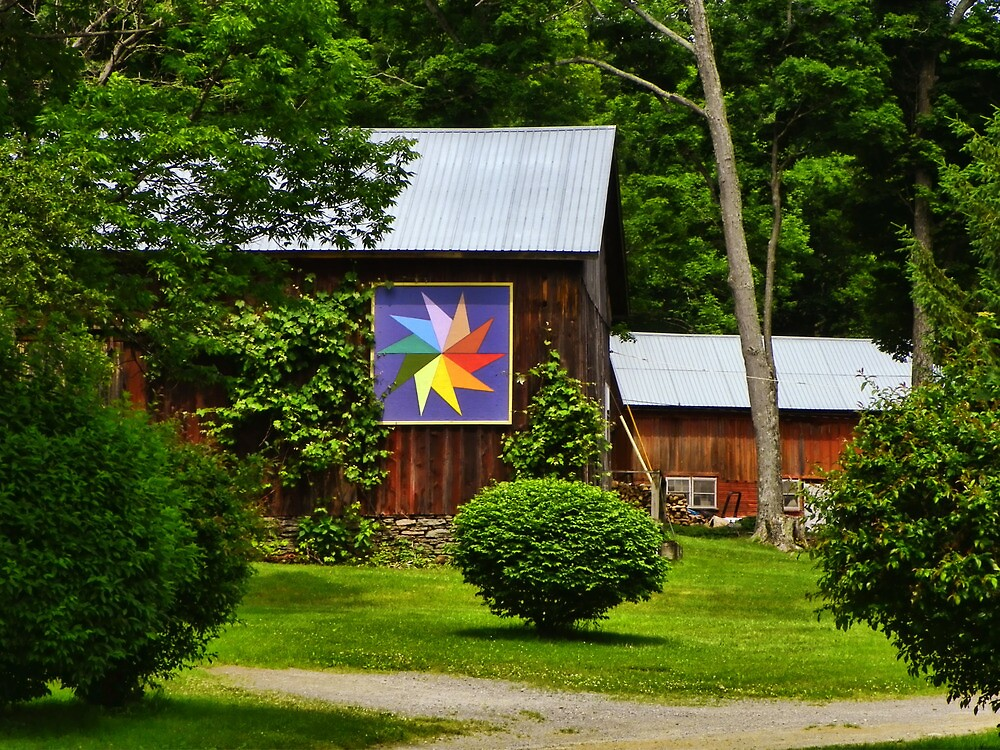 Two Barns with Quilt Decor by PineSinger