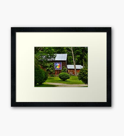 Two Barns with Quilt Decor Framed Print