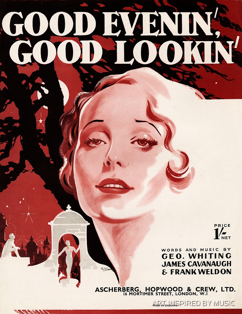 GOOD EVENING GOOD LOOKIN (vintage illustration) by ART INSPIRED BY MUSIC