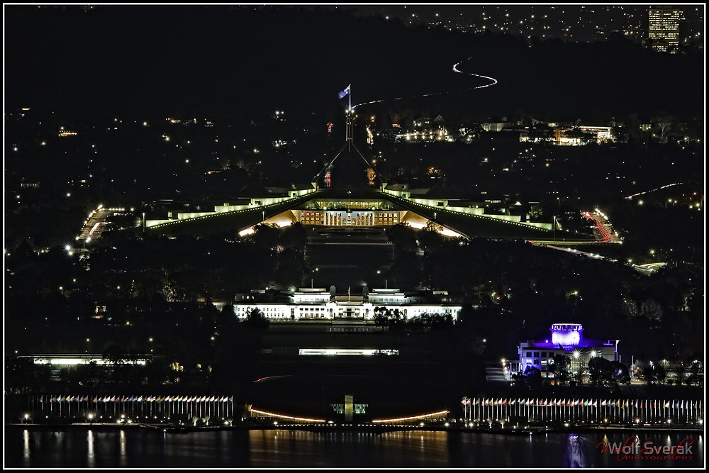 Parliament House in Canberra/ACT/Australia at Night by Wolf Sverak
