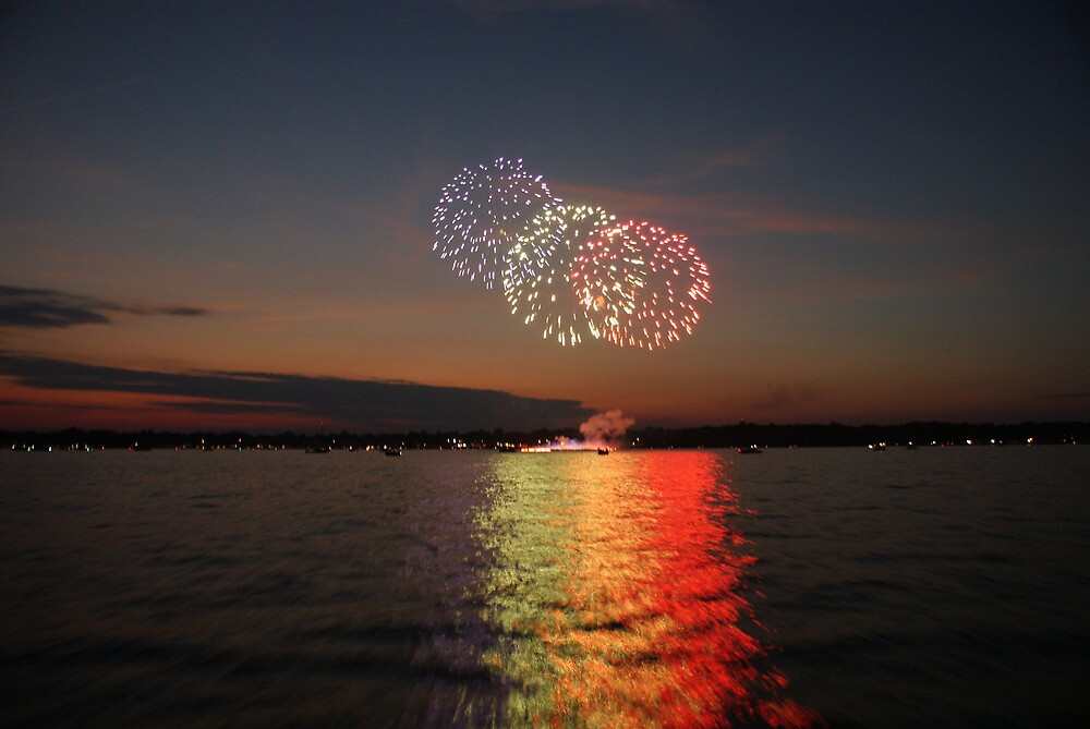 Fireworks over Lake Maxinkuckee  by Drew Mac