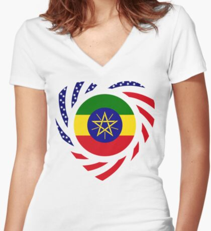 Ethiopian American Multinational Patriot Flag Series 2.0 Fitted V-Neck T-Shirt