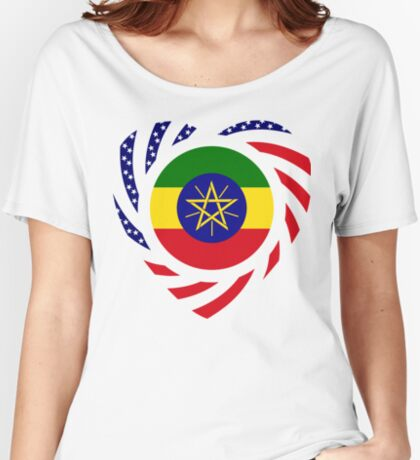 Ethiopian American Multinational Patriot Flag Series 2.0 Relaxed Fit T-Shirt