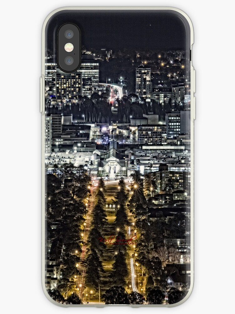 Canberra at Night - from Mount Ainslie - iPhone case by Wolf Sverak