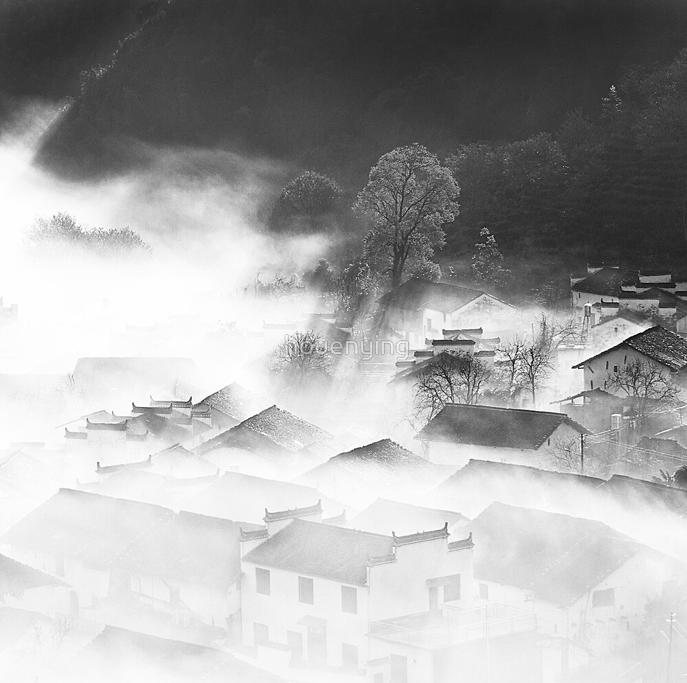 the village in fog by houenying